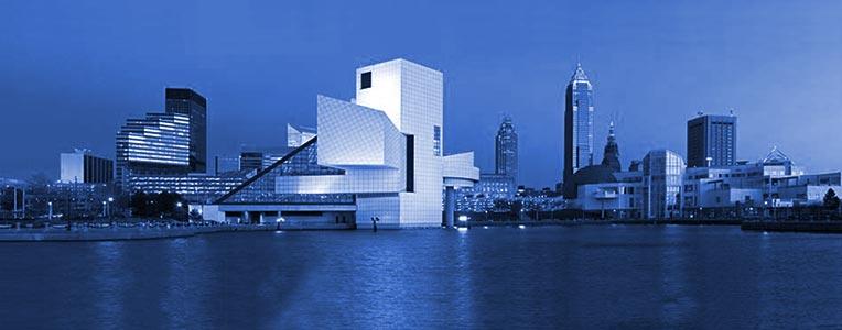 monochrome Cleveland skyline
